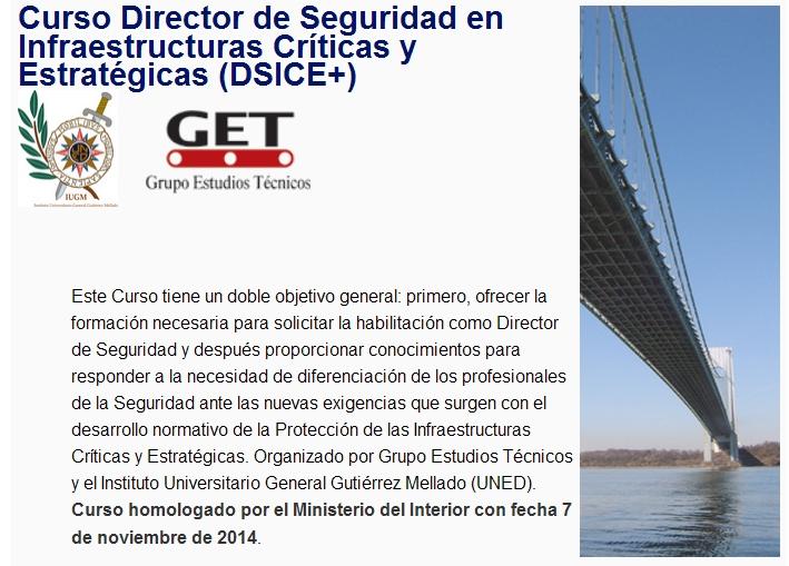 Curso Director de Seguridad en Infraestructuras Críticas y Estratégicas (DSICE+)